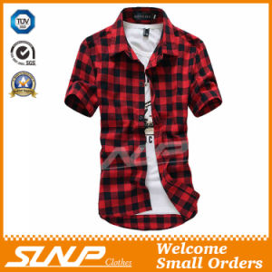 High Quality Men′s Plaid Short Sleeve T-Shirt