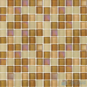 Tan 1X1 Blend Crystal Glass Pool Tiles