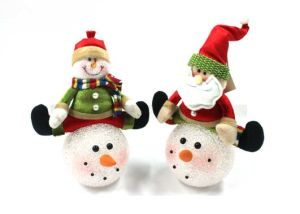 Christmas Music Box with Stuffed Snowman/Santaclaus