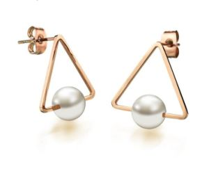 7d359fda3 2018 Girl Simple Studs Earrings Fashion Jewelry Triangle Pearl Earrings  Brincos for Women Gold Perle Boucles