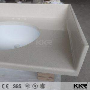 Precut Beige Artificial Marble Quartz Bathroom Countertop (180131) pictures & photos