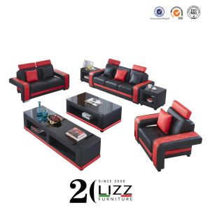 Wooden Modern Home Genuine Leather Sofa Furniture Set