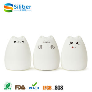 Korea Style Cartoon Soft Silicone Cat LED Night Lamp Night Light Color Changeable Bedside Desk Lamp