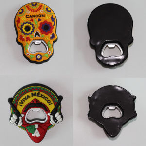 Various Custom Skull Shaped PVC Fridge Magnet with Bottle Opener Function pictures & photos
