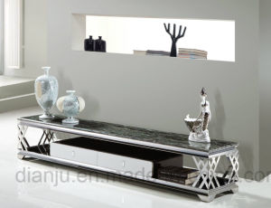 Living Room Furniture Modern Marble Stainless Steel TV Stand (S806)