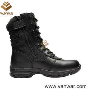 Full Grain Black Leather Military Combat Boots for Army Solider (WCB052) pictures & photos