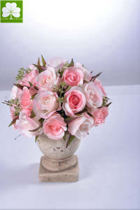 Rose Bouquet in Cement Urn