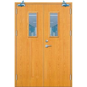 China Double Wood Fire Door with The Fire Glass (M-MF03) - China ...