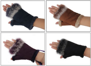 Lady Fashion Suede Leather Rabbit Fur Fingerless Dress Gloves (YKY5208) pictures & photos
