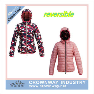 2016 Reversible Women Down Jacket with Custom Printing pictures & photos