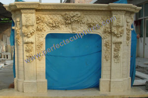 Stone Marble Fireplace Surround for Mantel (QY-LS389) pictures & photos