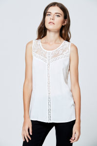 e09f356a4dad4 2017 Clothing Manufacturer Wholesale Casual Woman Blouse White Sleeveless  Lace Chiffon Latest Net Blouse Designs