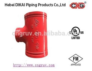 FM /UL Approved Grooved Reducing Tee Grooved Ductile Iron Pipe Fitting