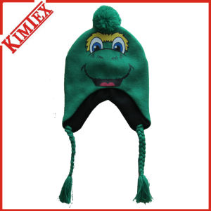 Acrylic Knitted Bomber Hat with Mascot Design pictures & photos