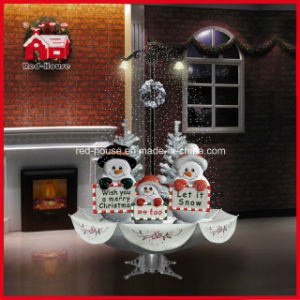 snowman family snowing christmas decoration with led lights and music