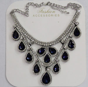 Lady Fashion Waterdrop Glass Crystal Pendant Necklace Costume Jewelry (JE0214-blue) pictures & photos