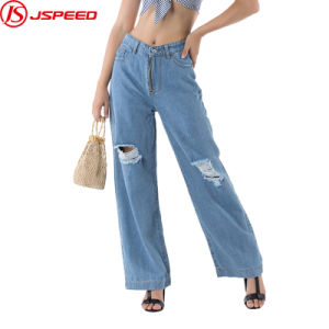 China Ladies Ripped Blue Loose Fit Denim Pants High Waist Wide Leg Women Jeans China Pants And Trousers Price Which can help prevent common conditions for women like sarcopenia, osteoarthritis or blood clots in the legs. china ladies ripped blue loose fit