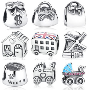 Handbag Windmill House Money Bags Baby Stroller London Bus Enamel Thread Charm Silver Charm Beads pictures & photos
