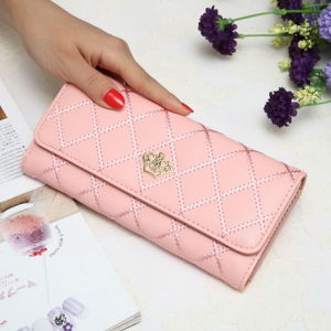 Korean Female Buckle Lingge Love Crown Wallet Note Clip Female Wallet pictures & photos
