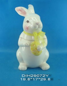 Easter Bunny Ceramic Storage Jar with Ribbon Decoration pictures & photos