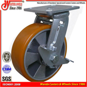 "4""X2"" Material Handling Equipment Polyurethane Wheel Heavy Duty Caster pictures & photos"