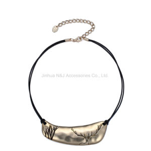 2017 Fashion Cameo Layers Choker Necklaces & Pendants Women Black Rope Deer Pattern Metal Gold-Plated Jewellery