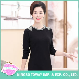 Long Black Ladies Fine Jumper Knitwear Cashmere Cardigan Sweater pictures & photos