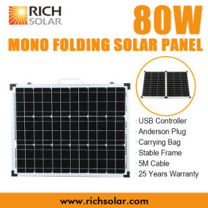 80W 12V Mono Folding Solar Panel for Home/Industry