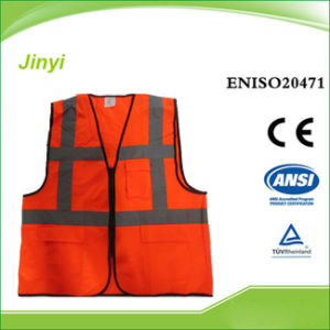 Orange Reflective Safety Vest with Pockets