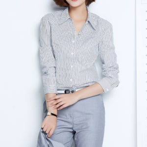 Ladies Women Formal Shirt Designs Cotton Strip Formal Shirt pictures & photos