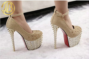 Drilling PU High Heel Lady Platform Office Shoes (NY02)