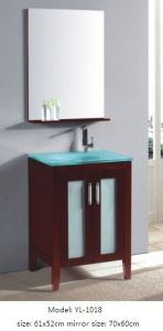 Sanitary Ware Bathroom Cabinet with Glass Wash Basin