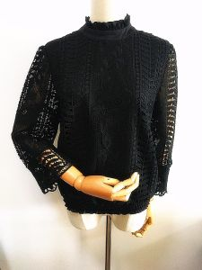 Lady T-Shirt High Neck Polyester Soluble Lace Women Clothing