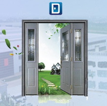 Center Arch Decorative Glass Galvanized Garage Double Steel Entrance Door pictures & photos