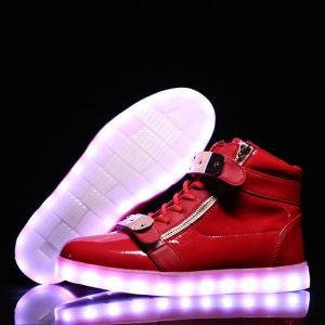 High Top Men Women Light up Shoes with Metal Magic Tape pictures & photos