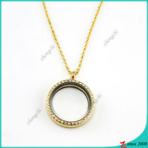 Real Gold 30mm Glass Locket with Rhinestone (FL16040821)