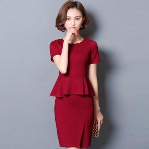 China Women Flouncing Hemline Two Piece Short Sleeve Office Suit