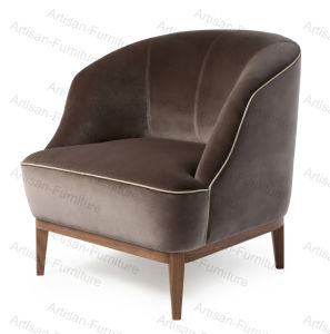 China Lounge Leisure Solid Wood Upholstered Leather Fabric Single