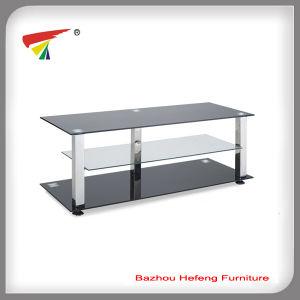 China Hot Sale Black Tempered 3 Shelf Glass Tv Stand Tv106 China