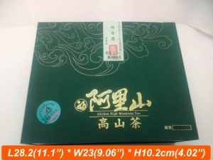 Green Color Silver Foil Hotstamping Logo Taiwan Tea Box