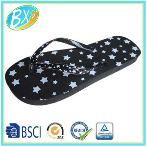 663feeca0938ab China All Over Star Print Flip Flop for Woman  Beach Slipper - China ...