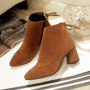Fashion Winter Boots Direct Female Pointed Heels Boots Large Size 34-45 Coarse Scrub Martin Boots Wholesale pictures & photos