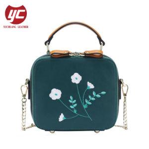 China Contrast Color Pu Embroidery Lady Handbag Manufacturer