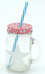 Decal Star Drinking Multi Colored Lid Straw Mason Jar