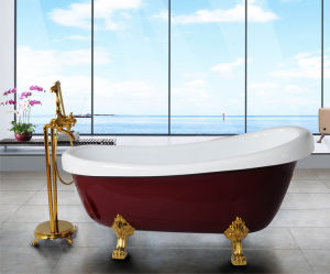 The Red Royal Acrylic Bathtub with Legs (BF-6619)