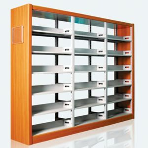 Double-Sided Steel-Wood Bookshelf for Library/Book Shelf/Office Furniture/Bookshelf pictures & photos