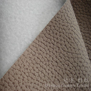 Shammy Fluff Polyester Suede Faric with Embossed Treatment for Sofa pictures & photos