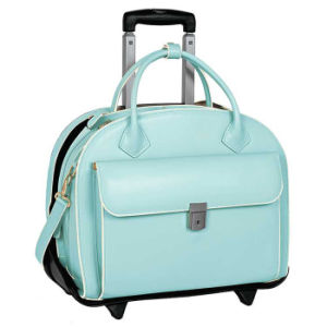 Patent Rolling 15 Laptop Case Women Stylish Pu Leather Trolley Tote Traveling Bag Wheeled Overnight