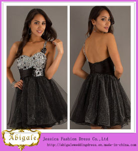 Sexy Hot Sale Short Organza Black One-Shoulder Beaded Sweetheart Sleeveless Cocktail Dress for Fat Women Yj0082