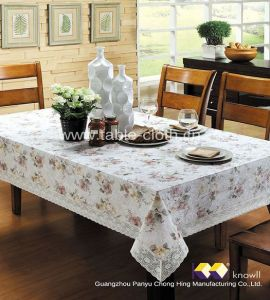 China High Quality Lace Edge Pvc Table Cloth Plastic Tablecloth Mat